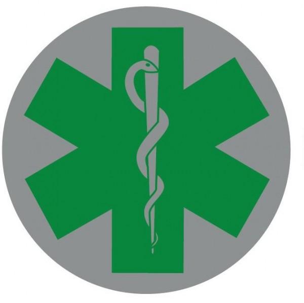 Emblem silber reflekt. Star of Life grün 8cm rund mit Klett