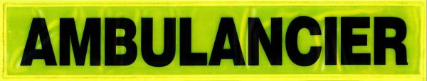Rückenschild gelb AMBULANCIER 42x8cm