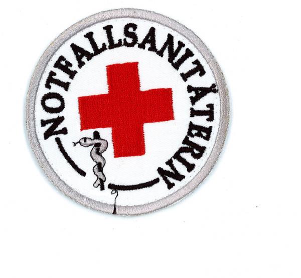 Emblem gestickt NOTFALLSANITÄTERIN mit rotem Kreuz und Klett