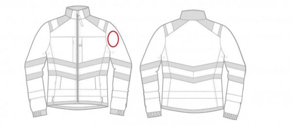 Flausch 8cm rund auf linken Arm aufnähen und verschweißen (schwarz)