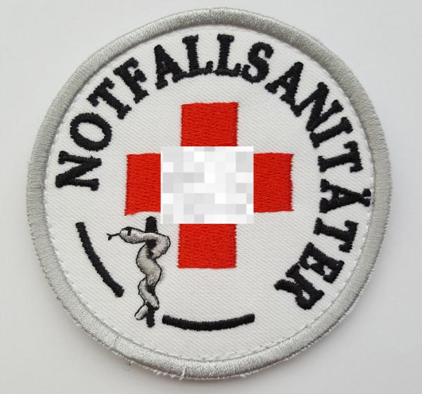 Emblem gestickt Notfallsanitäter mit rotem Kreuz u. Klett