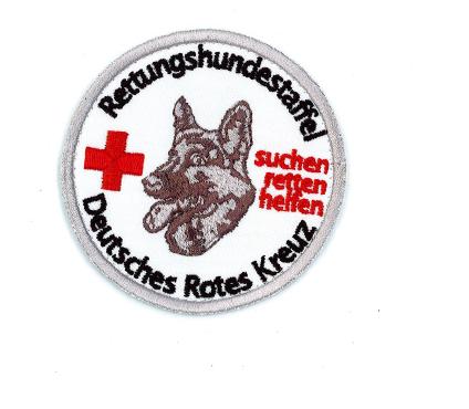 Stickemblem Rettungshundestaffel mit Hund/Kreuz 8cm