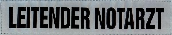 Rückenschild silber LEITENDER NOTARZT 38x8cm