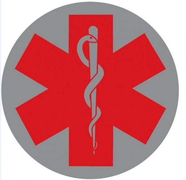 Emblem silber reflekt. Star of Life rot 8cm rund mit Klett