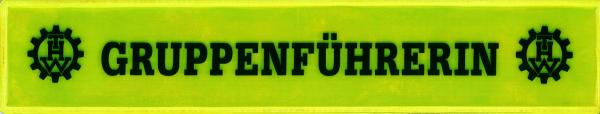 Rückenschild gelb GRUPPENFÜHRERIN + THW Logo li. +re. 42x8cm