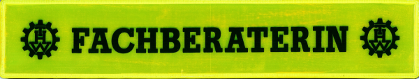 Rückenschild gelb FACHBERATERIN +THW Logo li. & re. 42x8cm