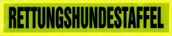 Rückenschild gelb RETTUNGSHUNDESTAFFEL 38x8cm