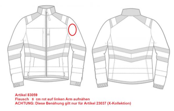 Flausch 8 cm rot auf linken Arm aufnähen (23037)