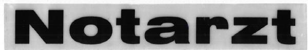 Rückenschild weiß Notarzt 30x5cm