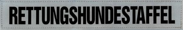 Rückenschild silber RETTUNGSHUNDESTAFFEL 30x5cm