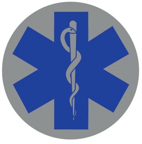 Emblem silber reflekt. Star of Life blau 14cm rund mit Klett