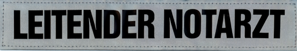 Rückenschild silber LEITENDER NOTARZT 30x5cm