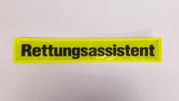 Rückenschild gelb RETTUNGSASSISTENT 30x5cm