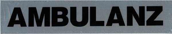 Rückenschild silber AMBULANZ 42x8cm