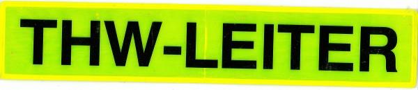 Rückenschild gelb THW-LEITER 42x8cm