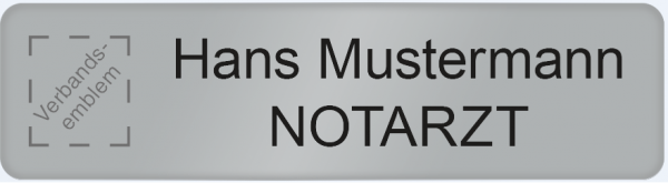 Namensschild Metall THW Logo, Klett