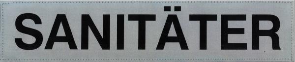 Rückenschild silber SANITÄTER 38x8cm