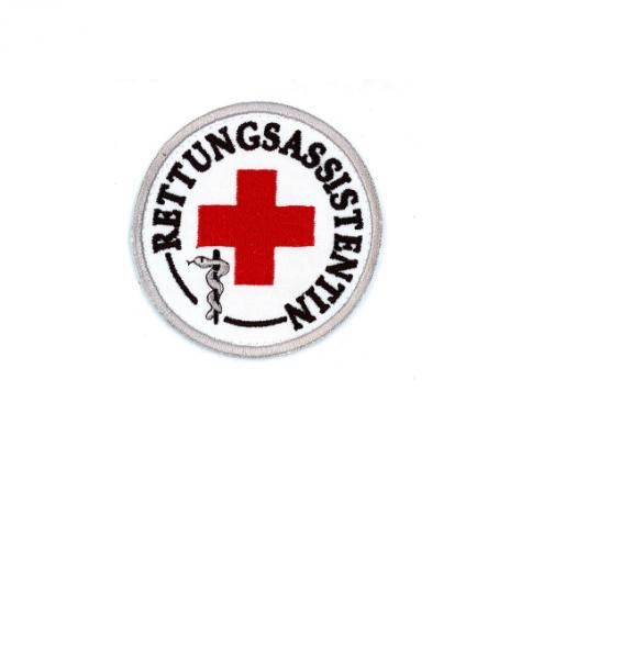 Emblem gestickt Rettungsassistentin mit rotem Kreuz u. Klett