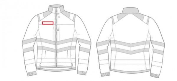 Flausch 12x3cm auf rechte Brust aufnähen und verschweißen (rot)
