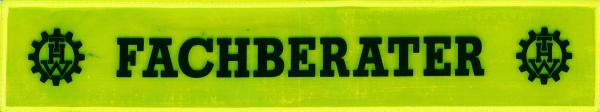 Rückenschild gelb FACHBERATER + THW Logo li. & re. 42x8cm