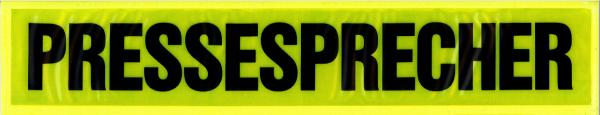 Rückenschild gelb PRESSESPRECHER 42x8cm