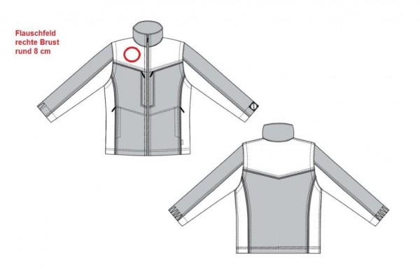 Flausch 8 cm rund auf rechte Brust aufnähen