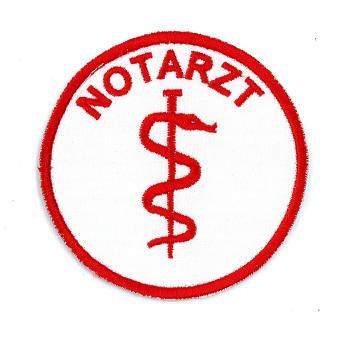 Emblem rund 8cm NOTARZT + Äskulapstab rot mit Klett
