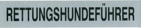 Rückenschild silber RETTUNGSHUNDEFÜHRER 42x8cm