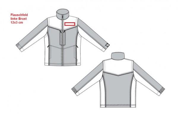 Flausch 12x3 cm auf linke Brust aufnähen
