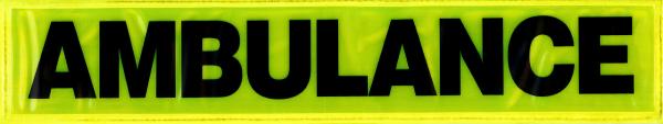 Rückenschild gelb AMBULANCE 42x8cm