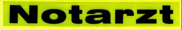 Rückenschild gelb Notarzt 30x5cm