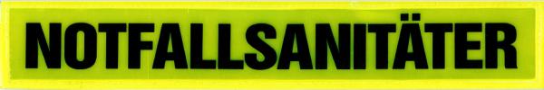 Rückenschild gelb NOTFALLSANITÄTER 30x5cm