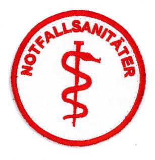 Emblem rot rund 8cm NOTFALLSANITÄTER + Äskulapstab Klett