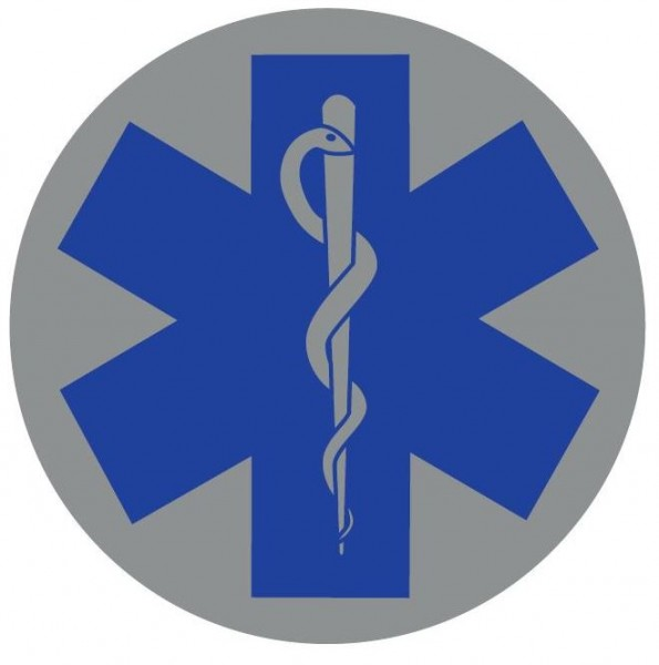 Emblem silber reflekt. Star of Life blau 8cm rund mit Klett