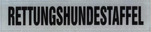 Rückenschild silber RETTUNGSHUNDESTAFFEL 38x8cm