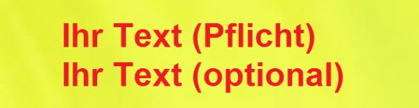 Namensschild gestickt leuchtgelb/rot 12x3cm
