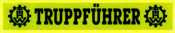 Rückenschild gelb TRUPPFÜHRER + THW Logo 42x8cm