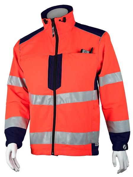 GSG Bavaria Rettungsdienstjacke Softshell leuchtrot/marine