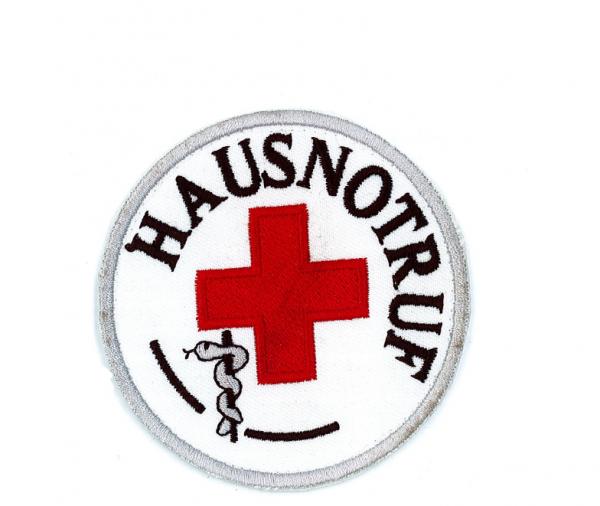 Emblem gestickt Hausnotruf mit rotem Kreuz u. Klett