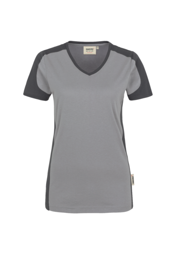 HAKRO Women V-Shirt Contrast Performance titan/anthrazit 190