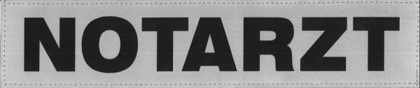 Rückenschild silber NOTARZT 38x8cm