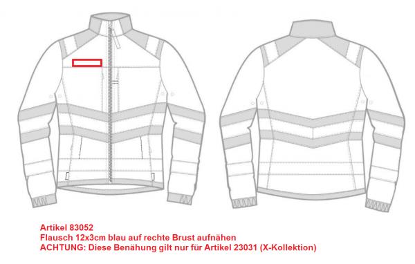 Flausch 12x3cm blau auf rechte Brust aufnähen (23031)