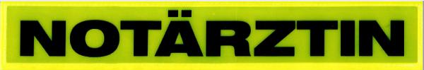 Rückenschild gelb NOTÄRZTIN 30x5cm
