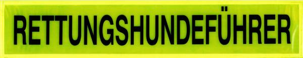 Rückenschild gelb RETTUNGSHUNDEFÜHRER 42x8cm