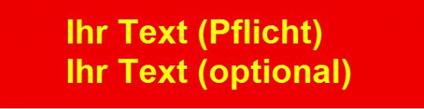Namensschild gestickt rot/leuchtgelb 12x3cm