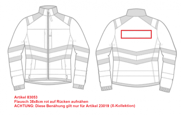 Flausch 38x8cm rot auf Rücken aufnähen (23019)